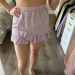 NEW H&M high waisted floral pastel purple skirt
